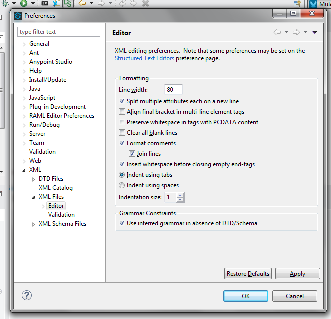 Mulesoft Anypoint Preferences Set