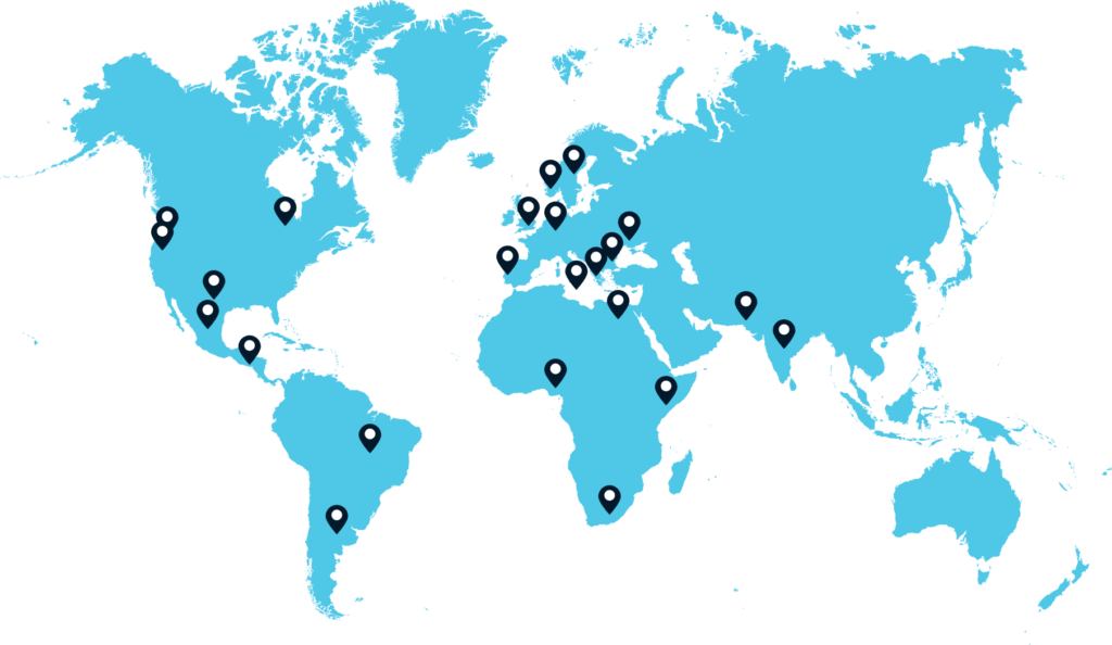 World map with team locations